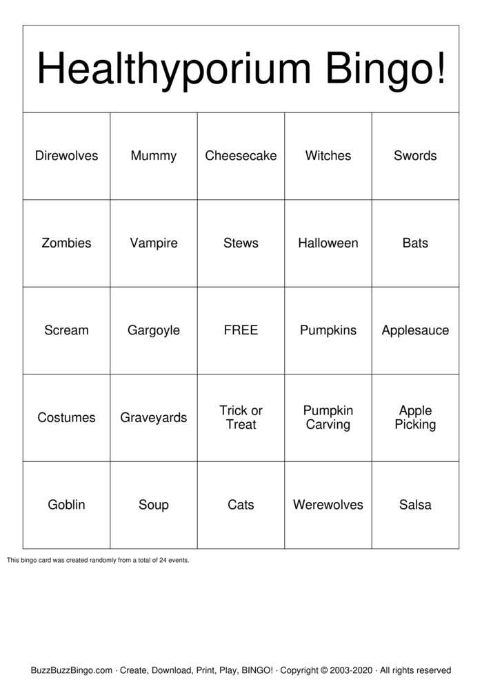 Download Free Healthyporium Bingo! Bingo Cards