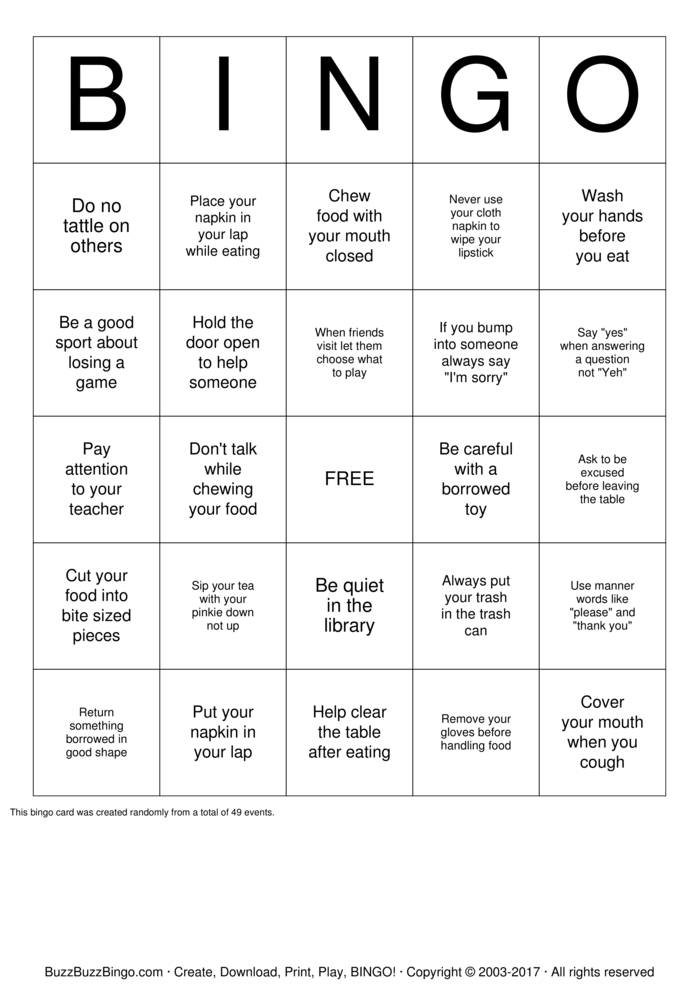Download Manners Bingo Cards