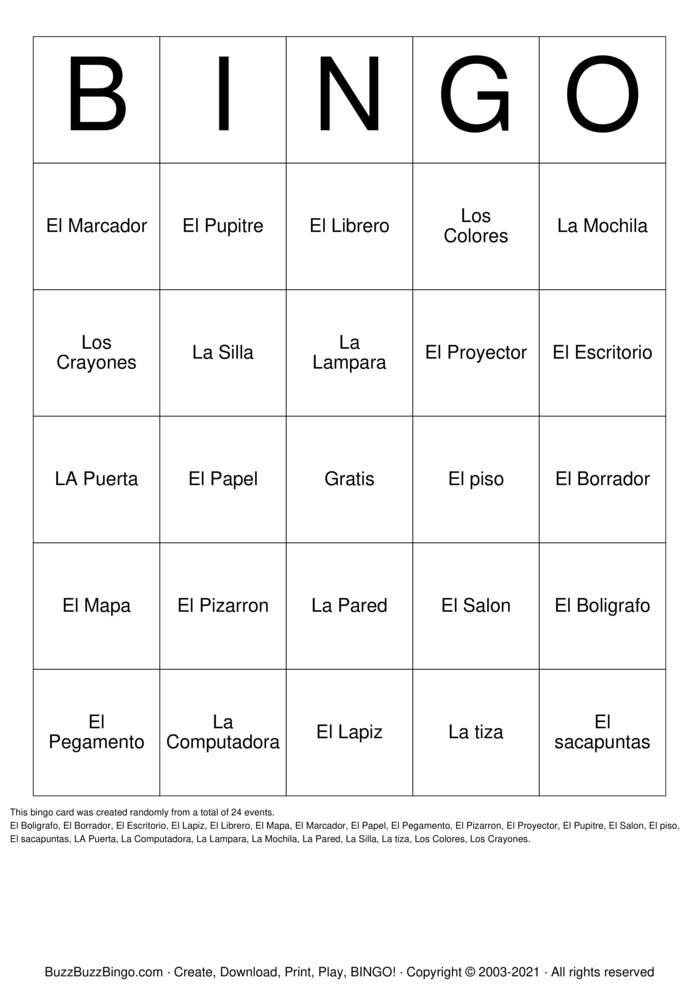 Download Free Spanish Bingo Cards