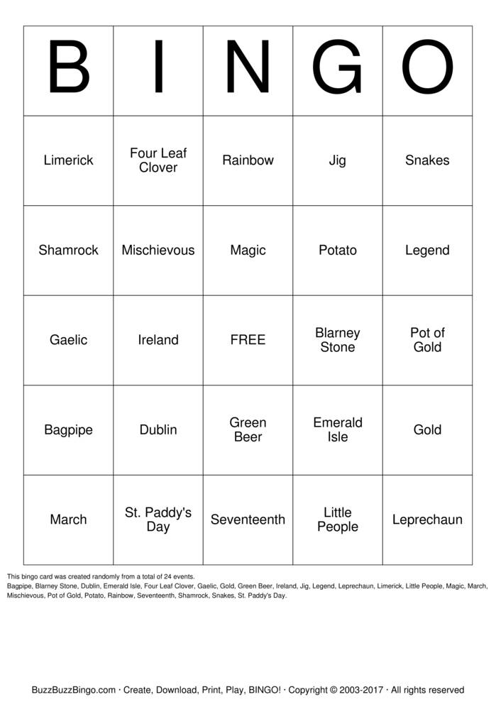 Download St. Patrick's Day Bingo Cards