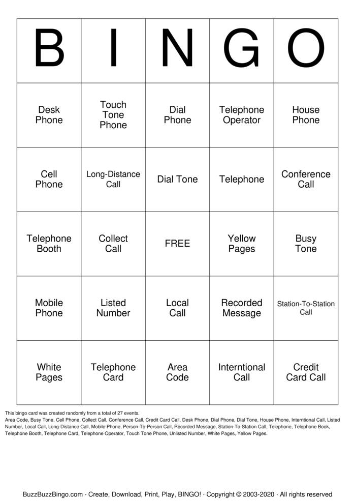 Telephone Bingo Card