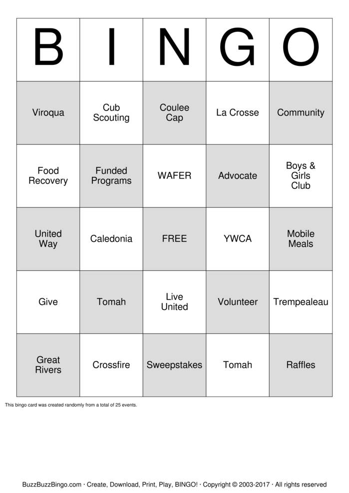 United Way  Bingo Card