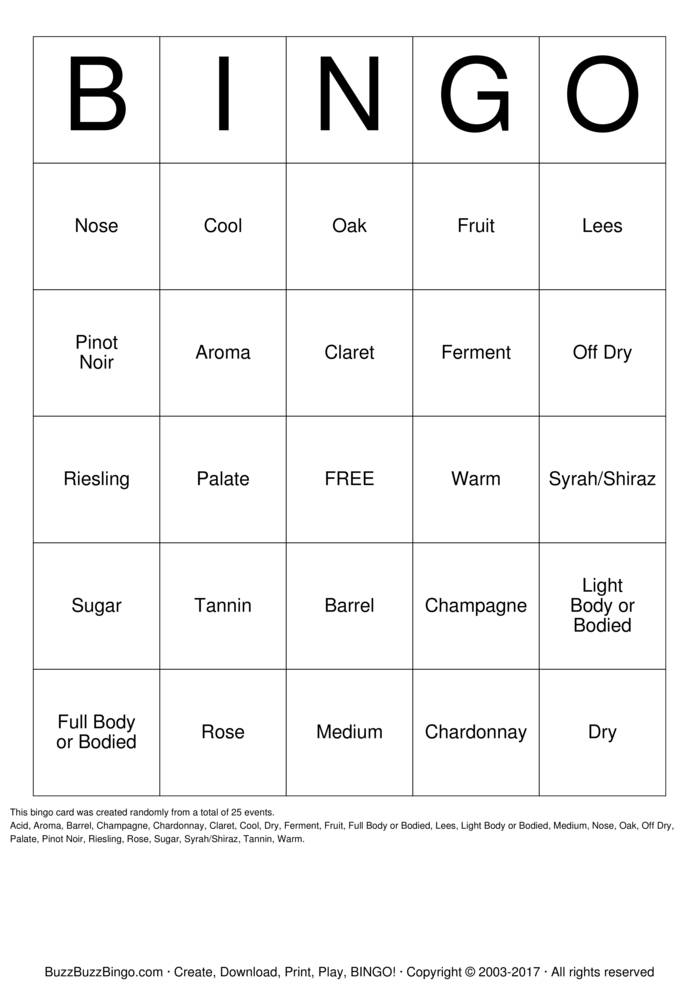 Wine Bingo Card