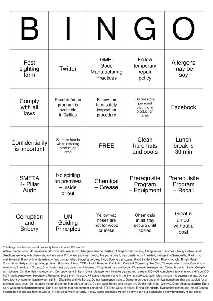 Download Annual Training Bingo Cards
