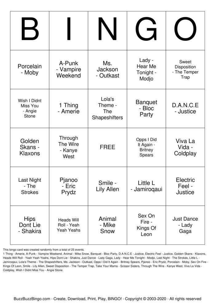 Download Free Fourth Corner Music Bingo Bingo Cards