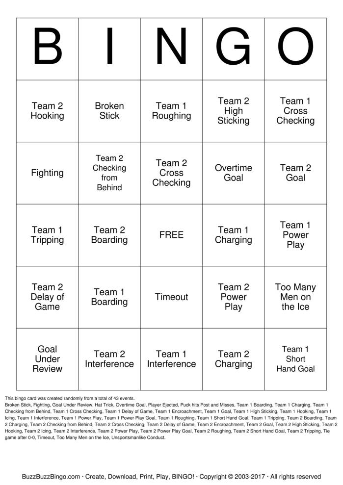 Download Free Hockey Bingo Cards