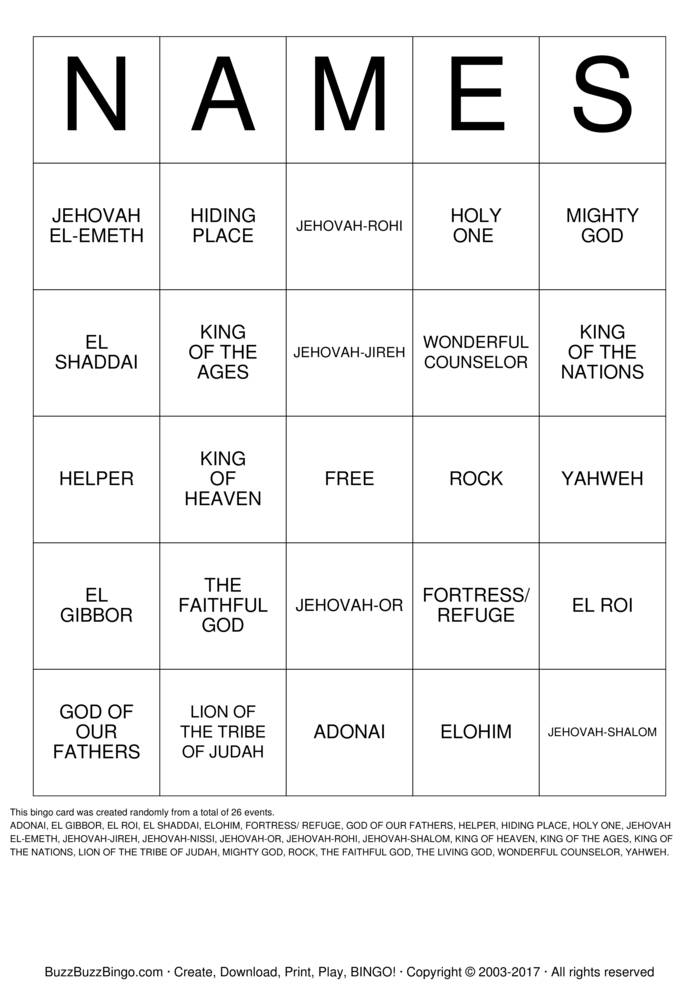 Download Free NAMES Bingo Cards