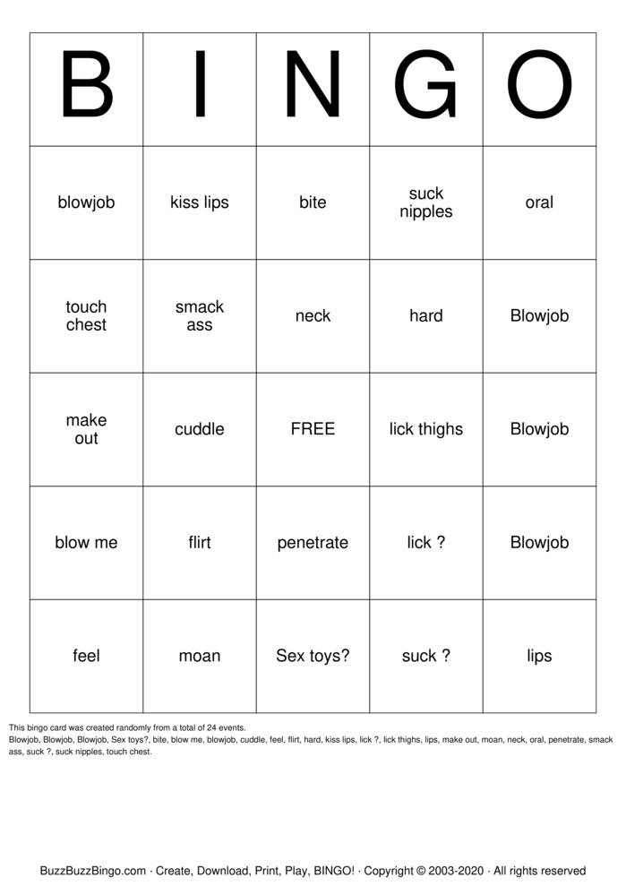 Download Free Sex  Bingo Cards