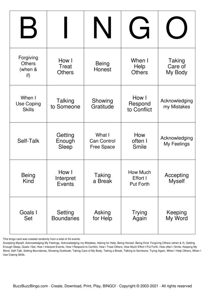 Download Free Things I Can Control Bingo Cards