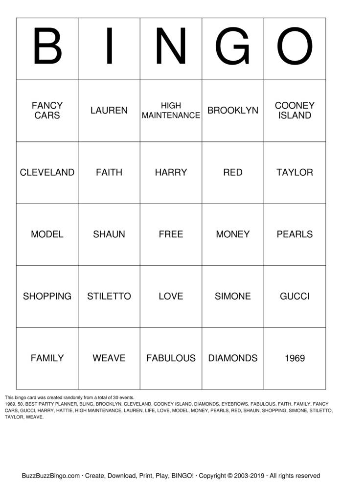 Download 50 & FABULOUS Bingo Cards