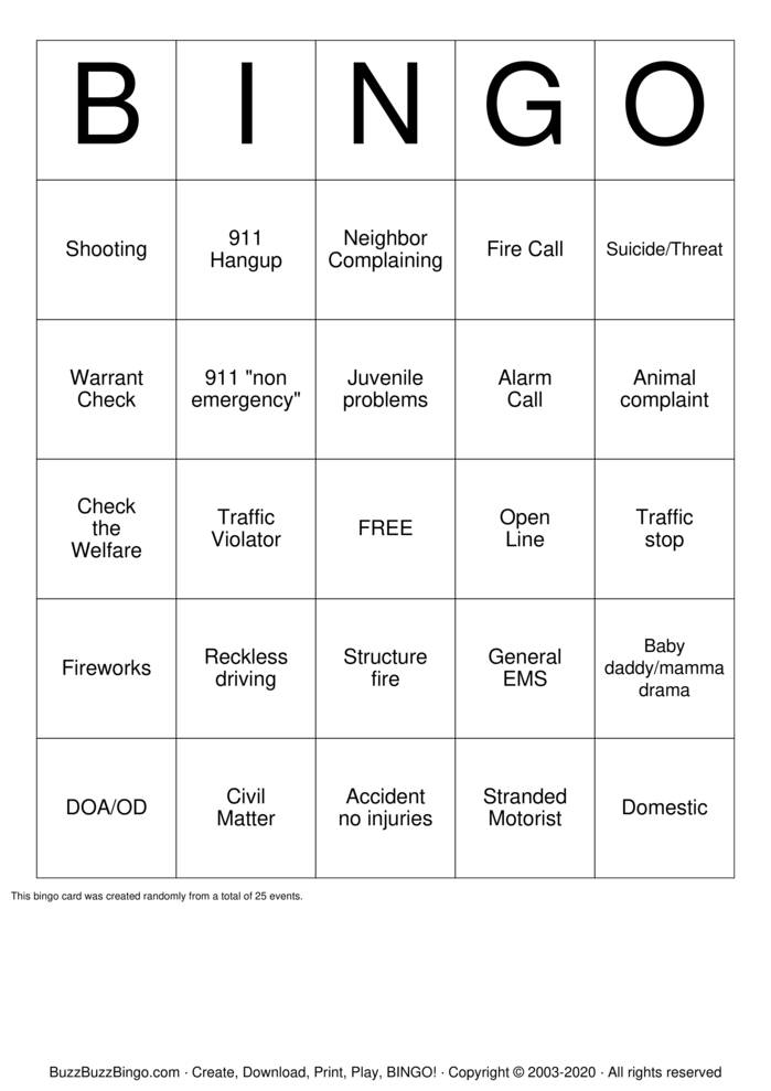 911 Dispatcher Bingo Card