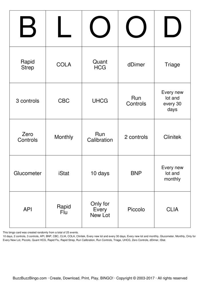 Download Free BLOOD Bingo Cards