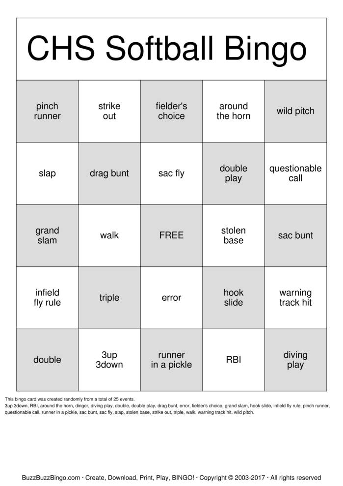 Download CHS Softball  Bingo Cards