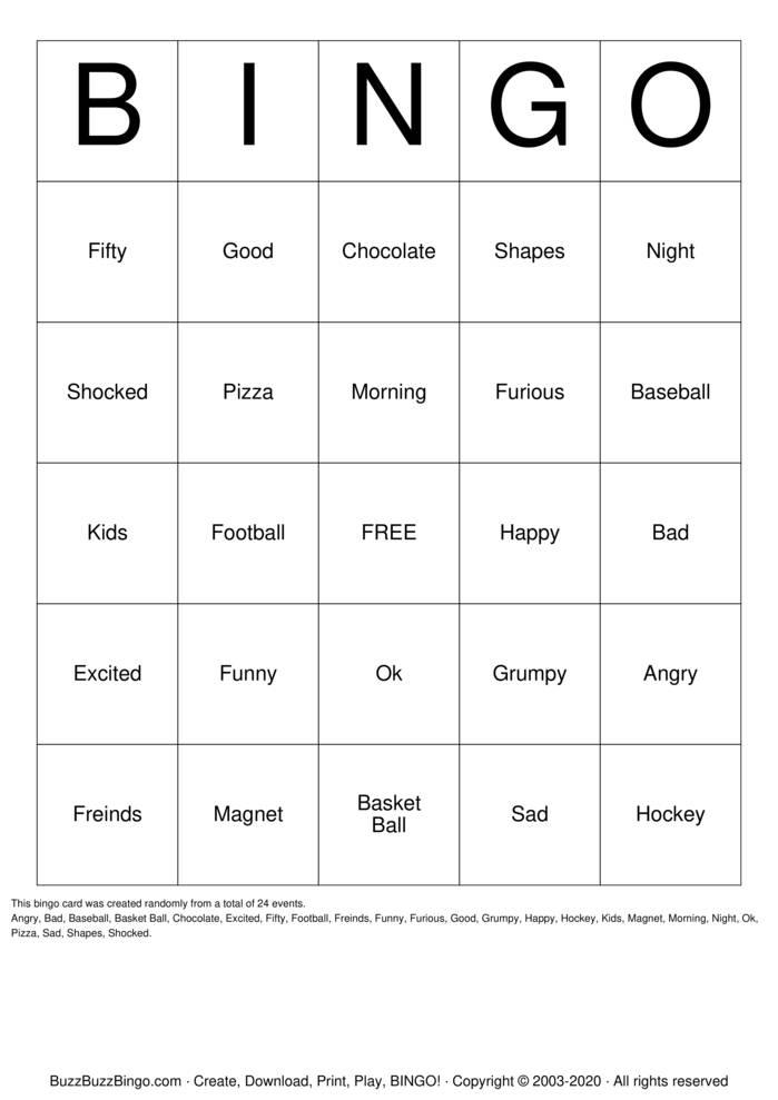 Download Free Grade 1 Bingo Card Bingo Cards