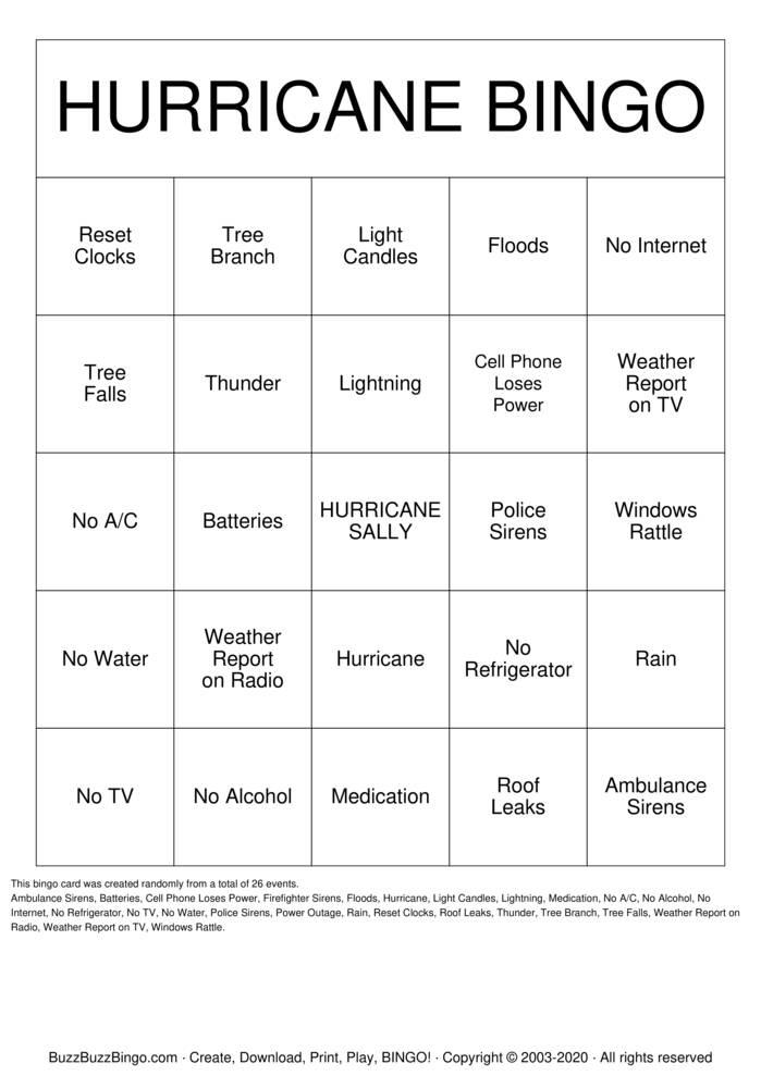 Download Free HURRICANE BINGO Bingo Cards