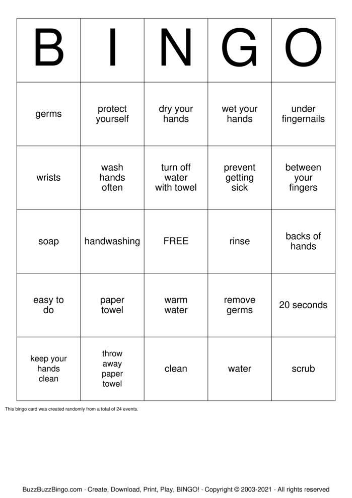 Download Free Handwashing Bingo Cards