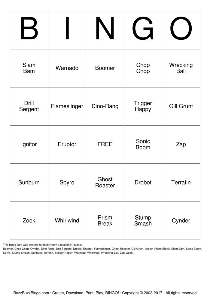 Download Skylanders Bingo Bingo Cards