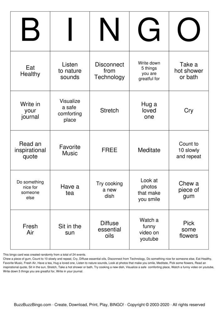 Download Free Ways To Relieve Stress Bingo Cards