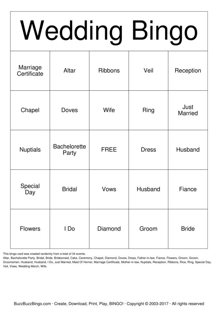 Download Free Wedding Ceremony Bingo Cards