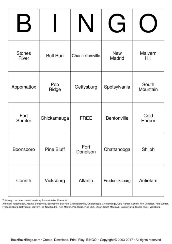 Download Civil War Battles Bingo Cards