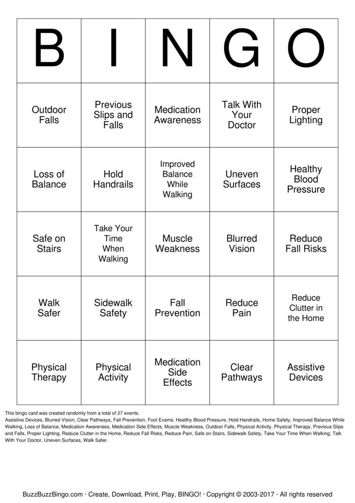 Download Free Fall Prevention Bingo Cards