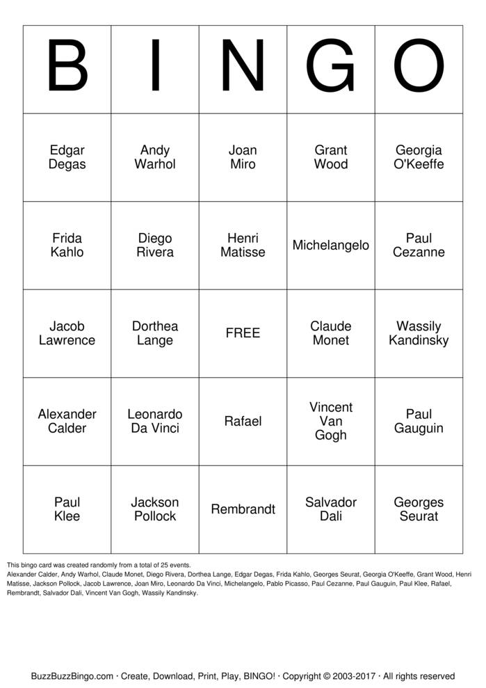Download Free Famous Artists Bingo Cards