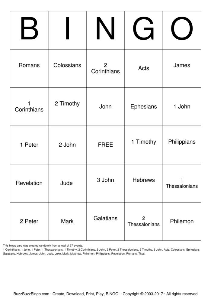 Download Free New Testament Bingo Cards
