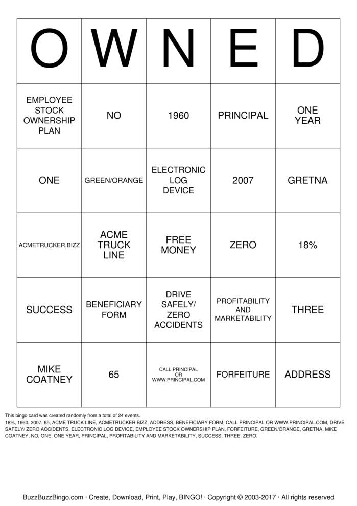 Download Free OWNED  Bingo Cards