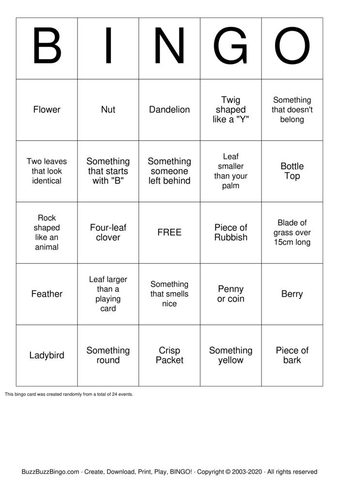 Download Free Park Scavenger Hunt Bingo Cards