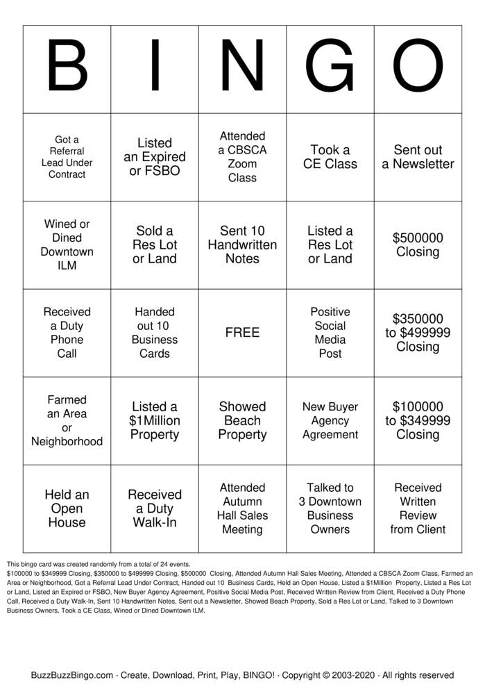 Download Free REALTOR BINGO Bingo Cards