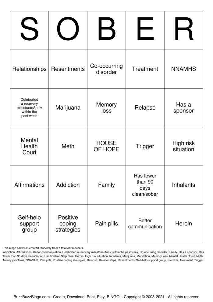 Download Free Recovery Bingo Cards