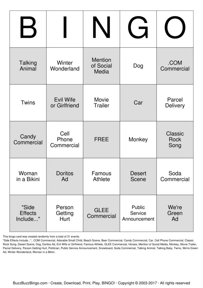 image relating to Printable Super Bowl Bingo Cards identified as Tremendous BOWL BINGO Bingo Playing cards in direction of Obtain, Print and