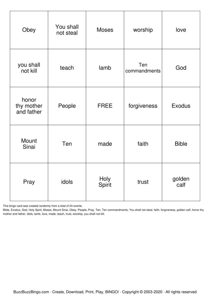 Download Free The 10 Commandments  Bingo Cards