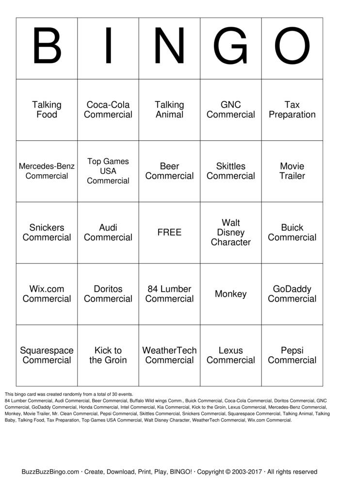 Download 2017 Super Bowl Commercials Bingo Cards