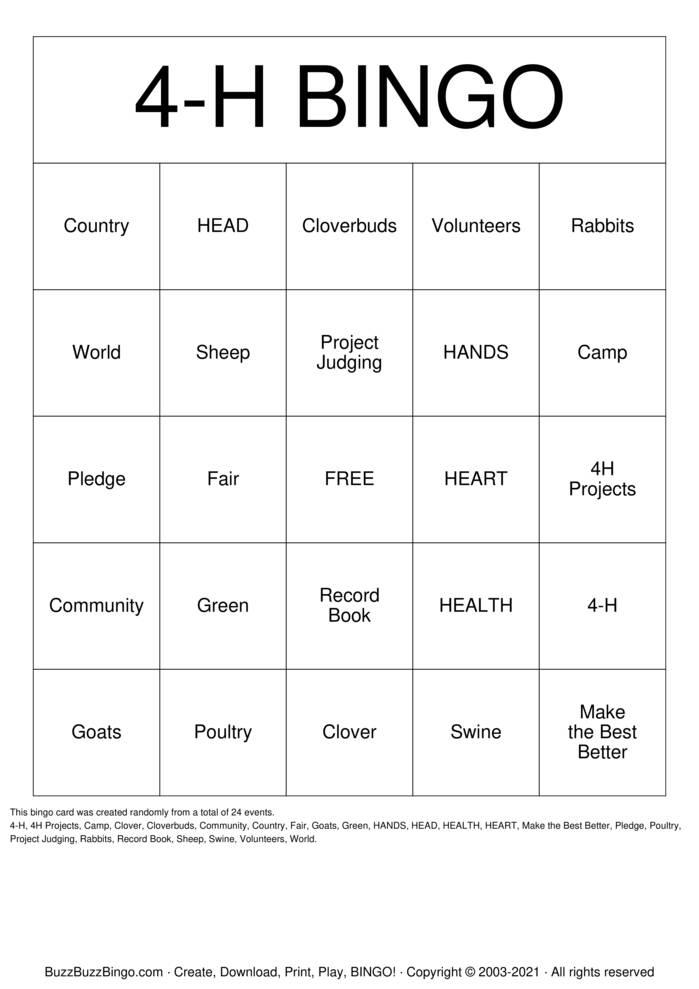 Download Free 4H Bingo Bingo Cards