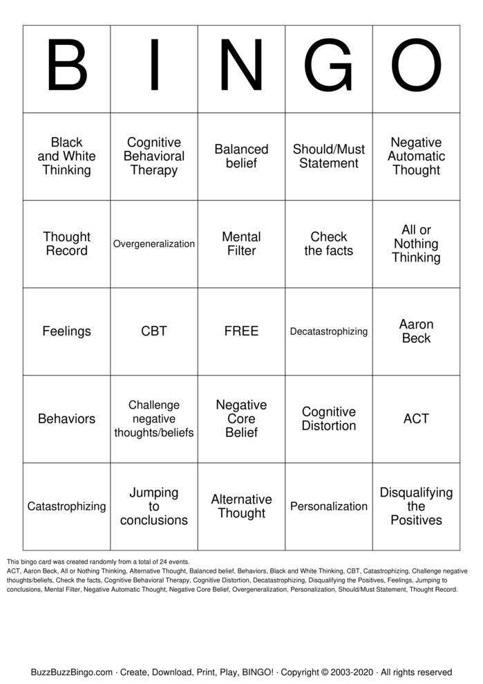 Download Free Cognitive Behavioral Therapy Bingo Cards
