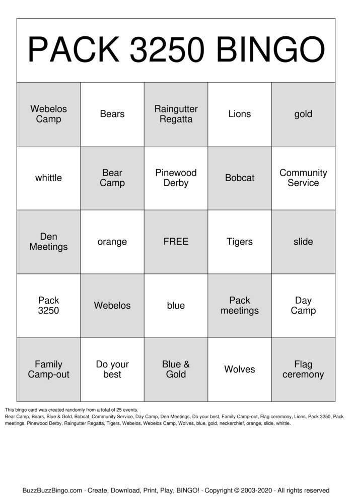 Download Free Cub Scouts Bingo Cards