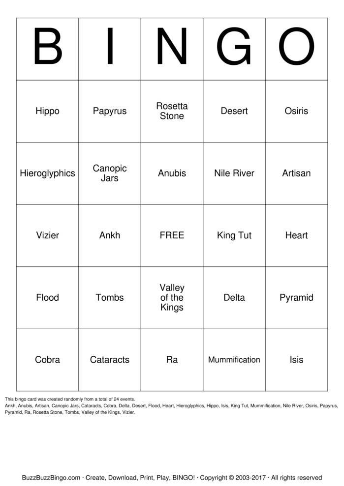 Download Free EGYPT Bingo Cards