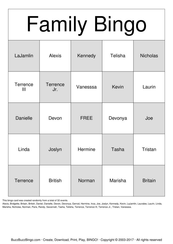 Download Free Family Bingo Cards