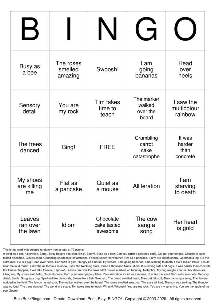 Download Free Figurative Language Bingo Cards