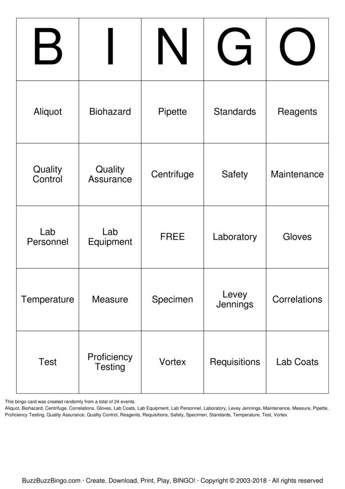 Lab Week 2018 Bingo Card