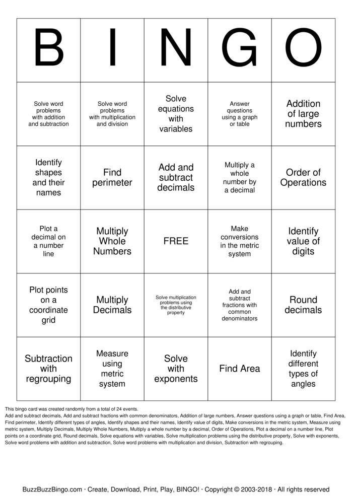 Download MATHO Bingo Cards