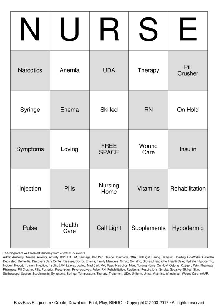 Download Nurse  Bingo Cards