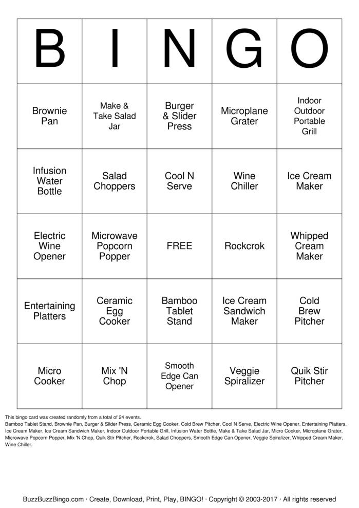 Download Free Pampered Chef  Bingo Cards