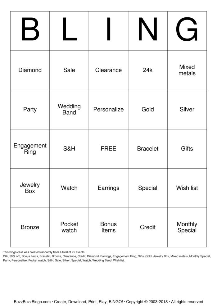 Download Free Paparazzi BLINGO Bingo Cards
