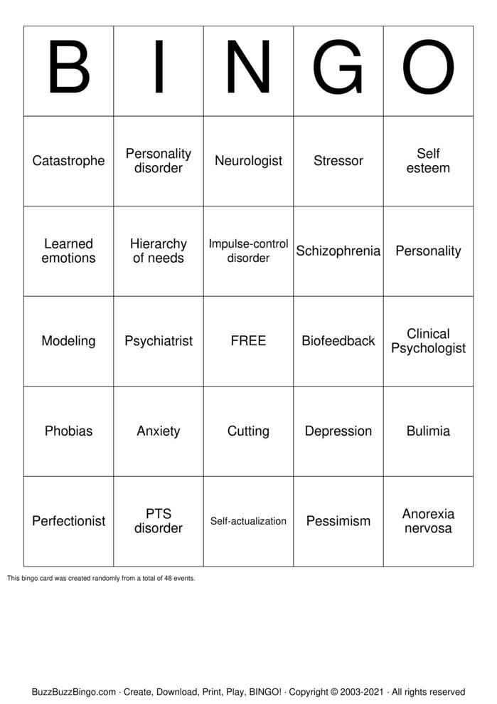 Download Free SELF CARE children Bingo Cards