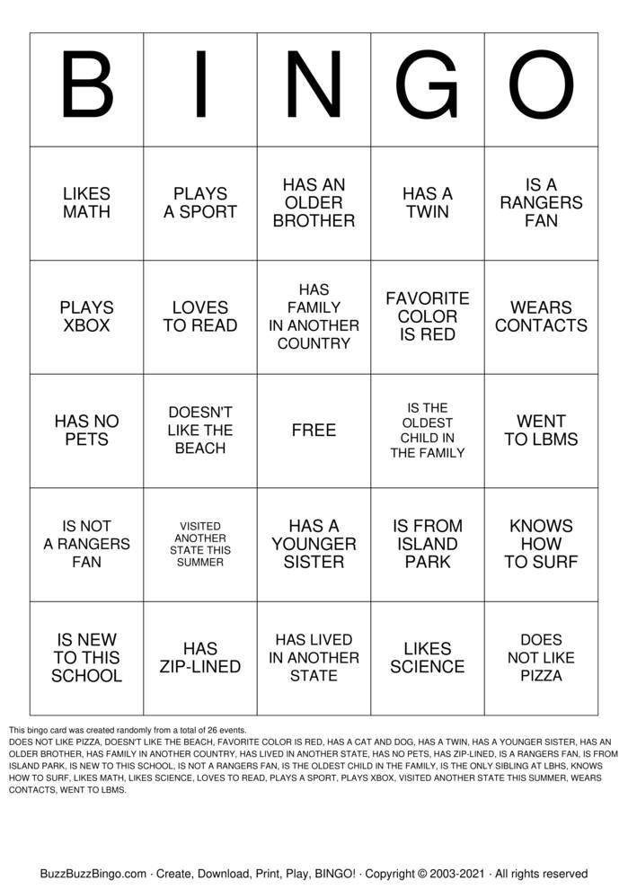 Download Free DAY 2 BINGO Bingo Cards