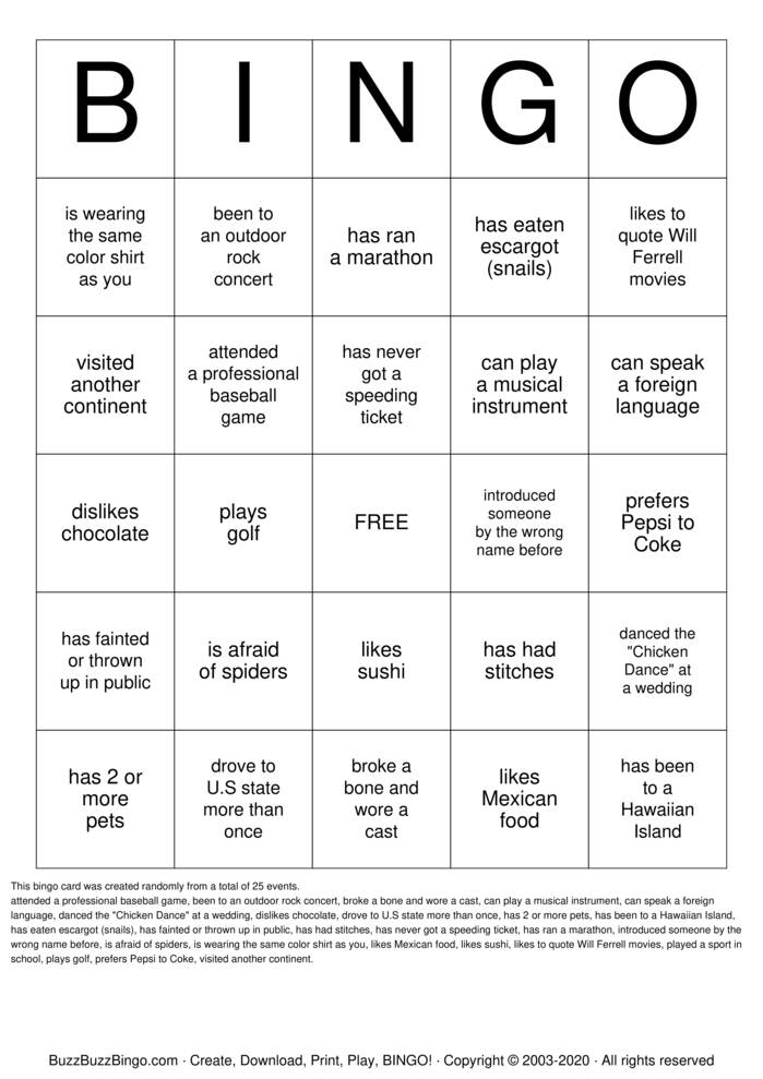 Find An MSHM Student Who... Bingo Card