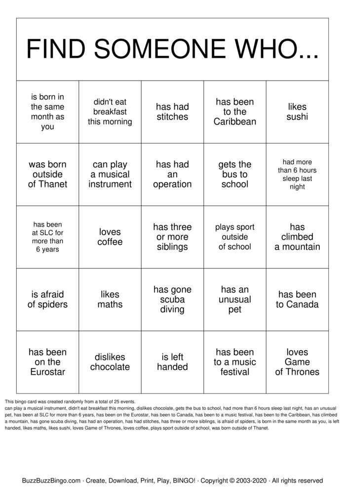 Download Free Find Someone Who.. Bingo Cards