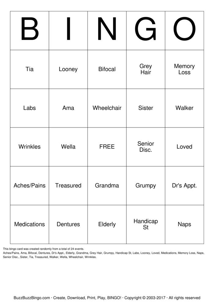 Download Mom's 80th          Bingo Cards